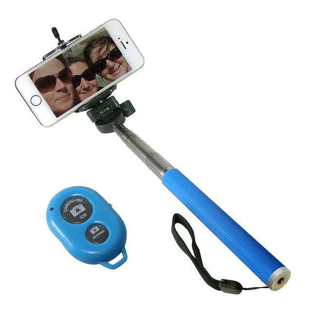 2-Pack Bluetooth Selfie Stick with Keychain Shutter Remote
