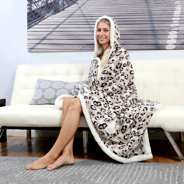 Chic Home Sherpa-Lined Hoodie Robe- Assorted Styles