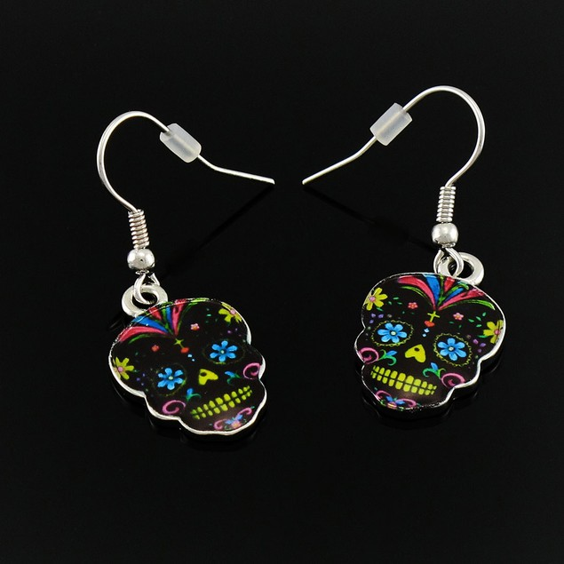 Day Of The Dead Black Sugar Skull Dangle Earrings Dangle Earrings