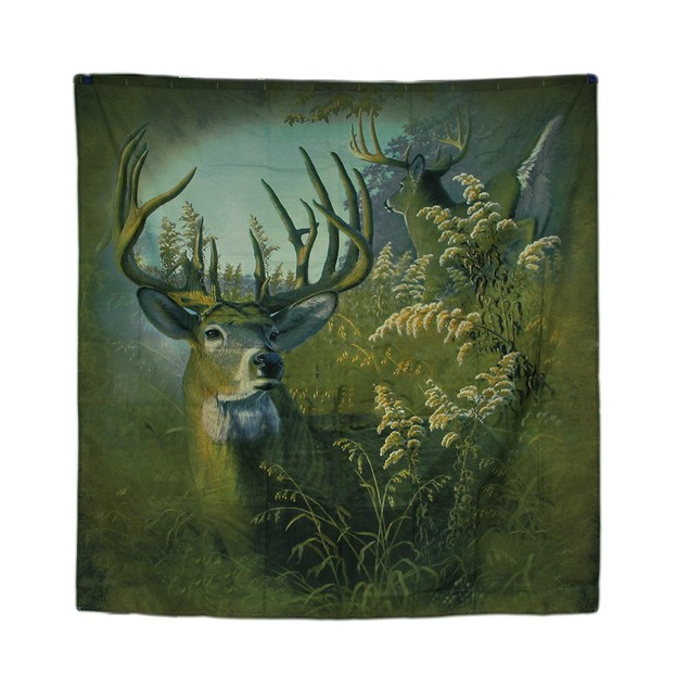 70 In. Twin Bucks Whitetail Deer Fabric Shower Shower Curtains