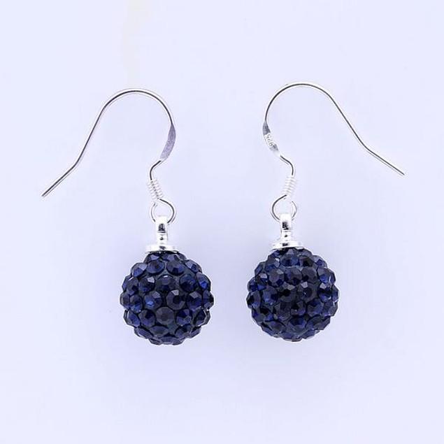 Vivid Dark Austrian Stone Blue Drop Earrings