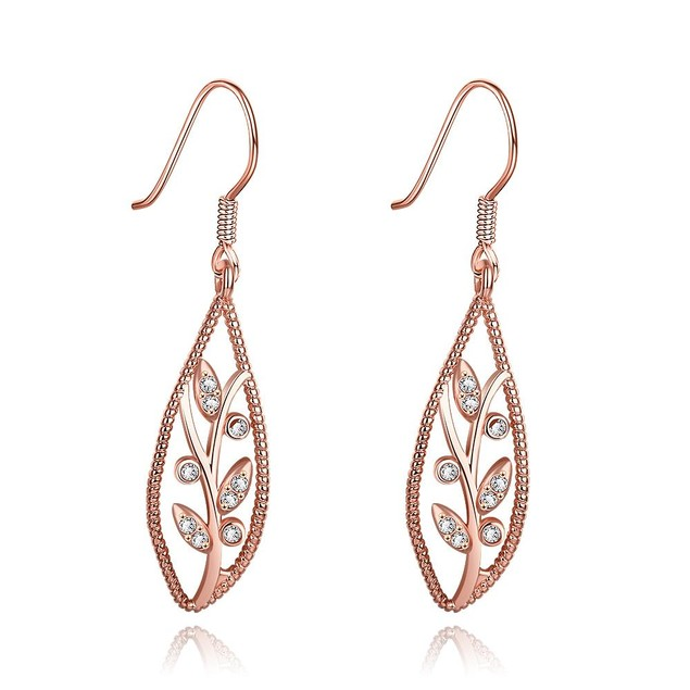 Rose Gold Plated Olive Branch Drop Down Earrings