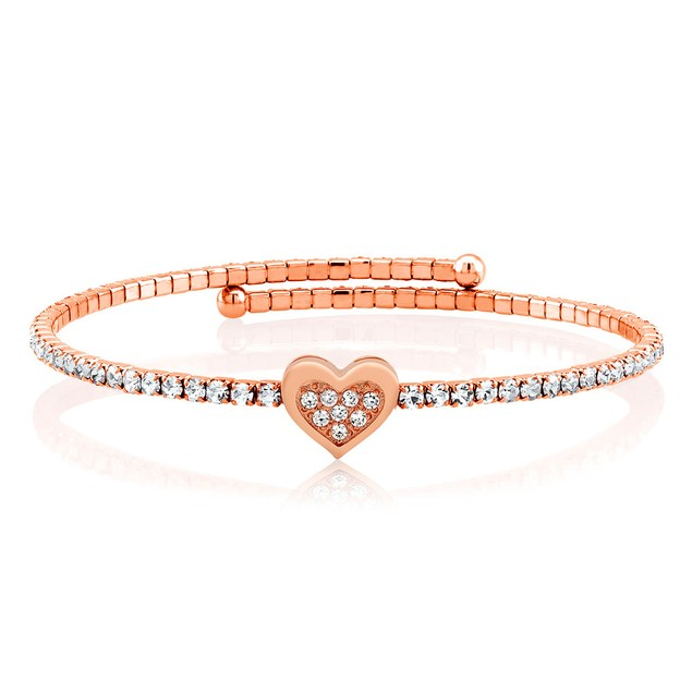 18-Karat Gold Crystal Expandable Fashion Bangle