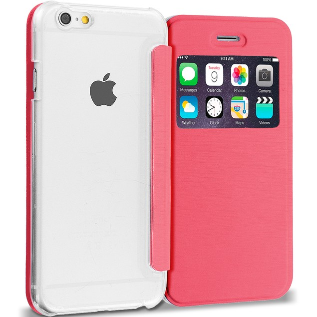 Apple iPhone 6 Plus (5.5) Slim Wallet Flip Case Clear Back Window Cover