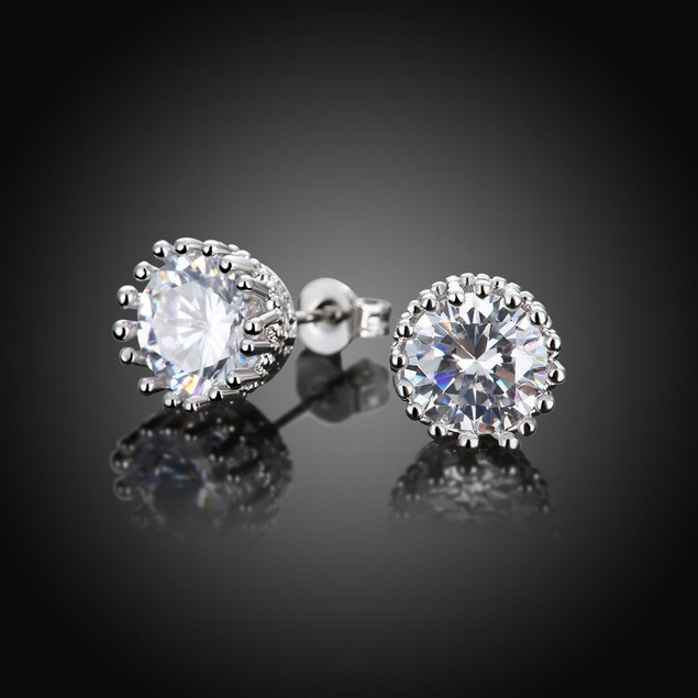 White Gold Plated Classic Studs