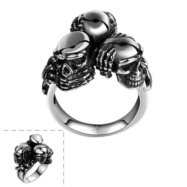 Triple Skull Stainless Steel Ring