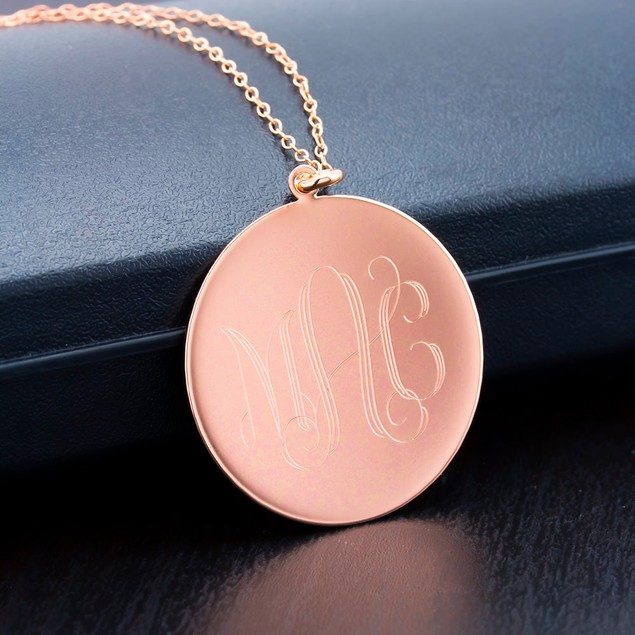 Rose Personalized Round disc Necklace