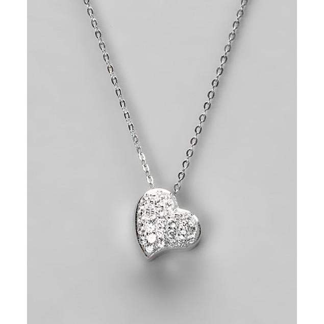 18kt White Gold Sterling Silver Pendant - Heart