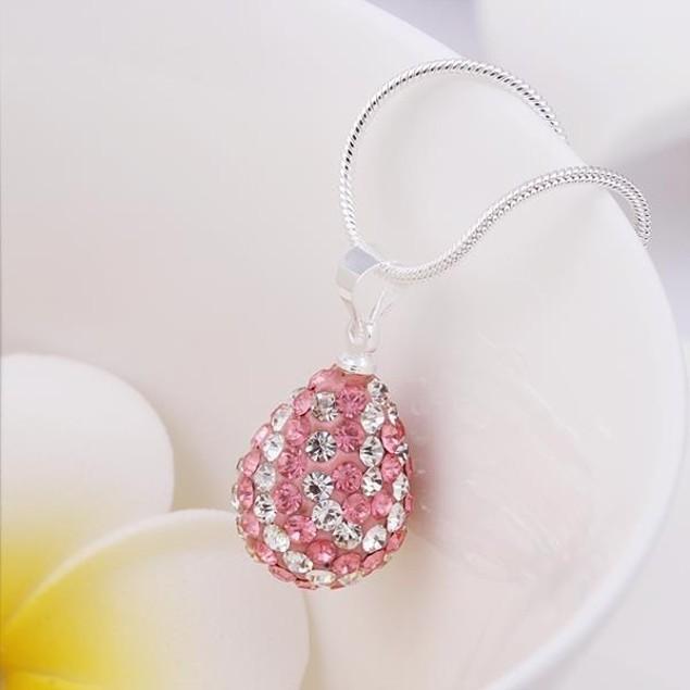 Multi-Toned Austrian Stone Pear Necklace - Coral