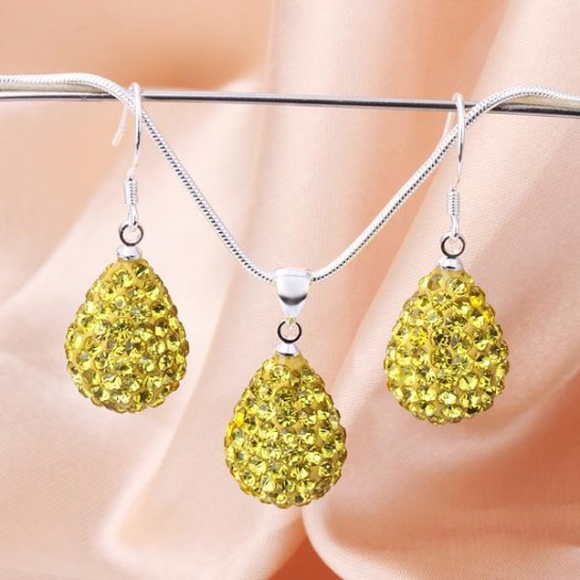 Austrian Stone Solid-Pave Pear Earring and Necklace Set - Yellow Crystal