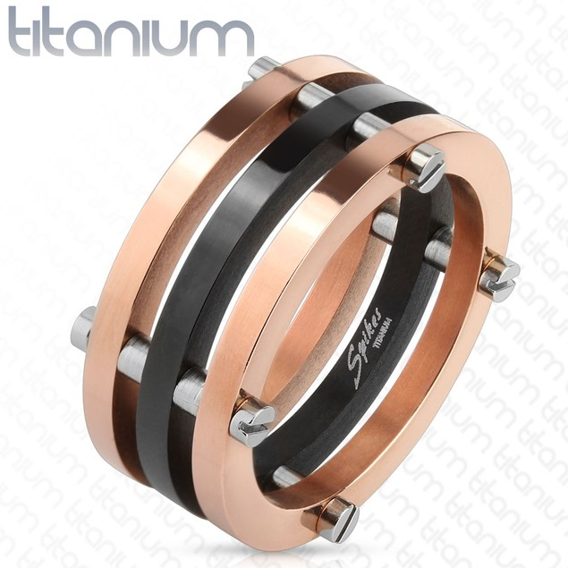 Black and Rose Gold Solid Titanium Ring