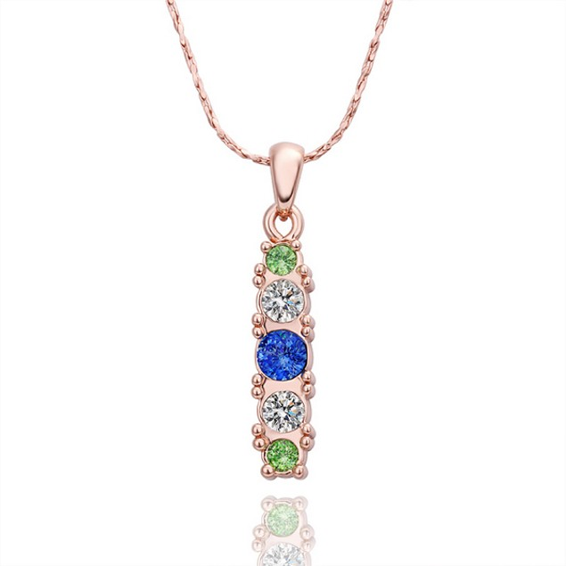 Rose Gold Plated Tower Blue Necklace