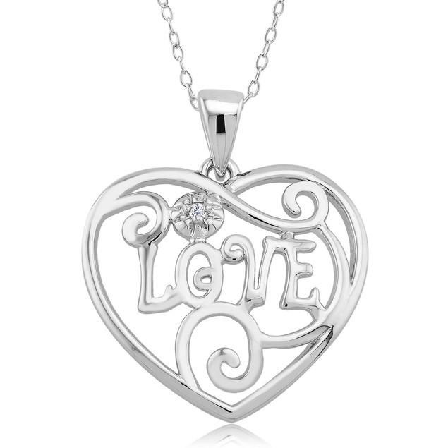 .10 Ct Diamond Accent Heart Necklace  - Elegant Love