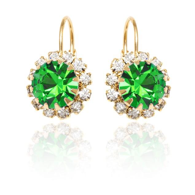 Lime Crystal Flower Huggie Earrings