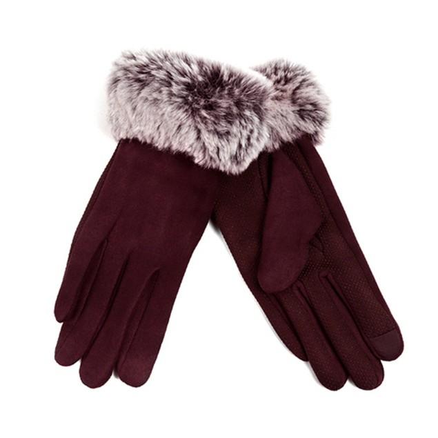Women's Faux-Fur Cuff touch Screen Gloves w/Non Slip Grip & Fleece Lining