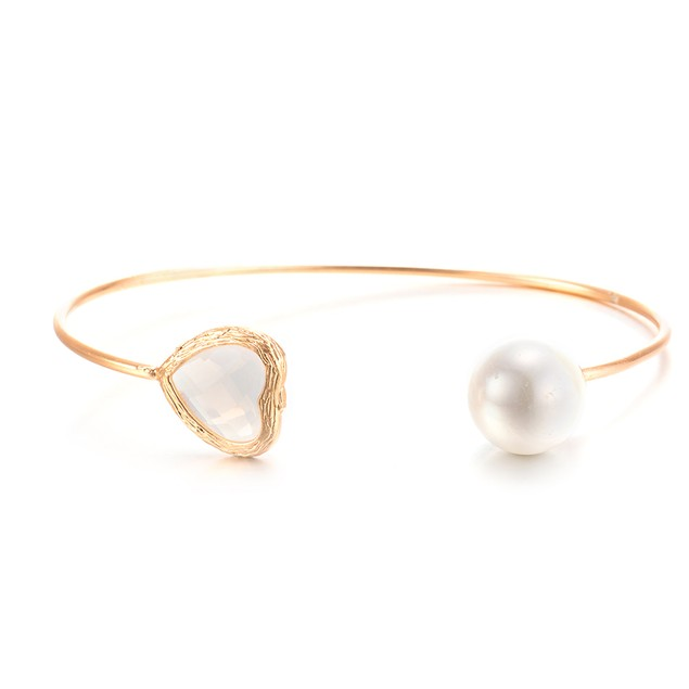 Gold Plated Hearts Gem & Ball Open Ended Bangle