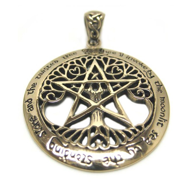 Large Bronze Tree Of Life Pentacle Pendant Pagan Individual Pendants