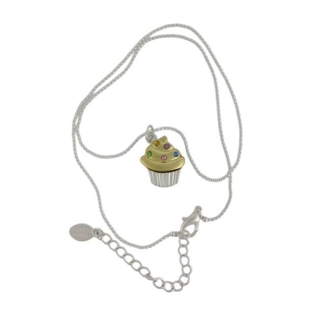 Rhinestone Cupcake Pendant Dainty Bead Necklace Womens Pendant Necklaces