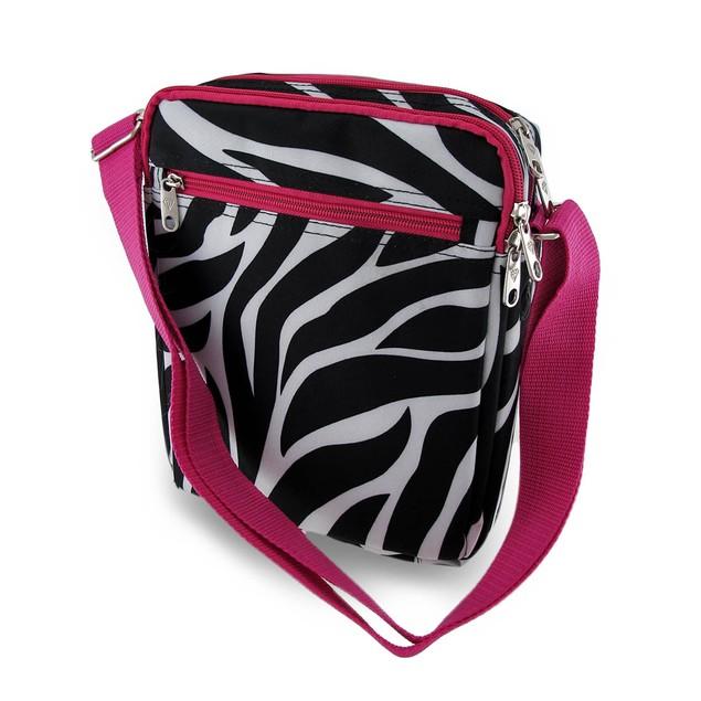 Zebra Stripe Hot Pink Trim Padded Gadget/Tablet Womens Cross Body Bags