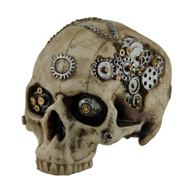 Map Head Mechanical Steampunk Skull Statue Statues