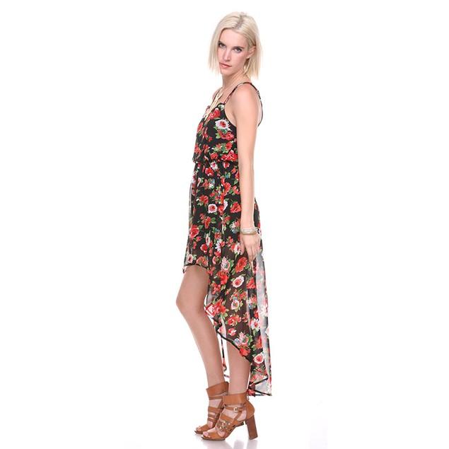 Asymmetric Hem Floral Dress