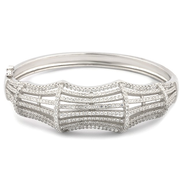 Sterling Silver Bamboo Design Micro Pave Simulated Diamond Bangle