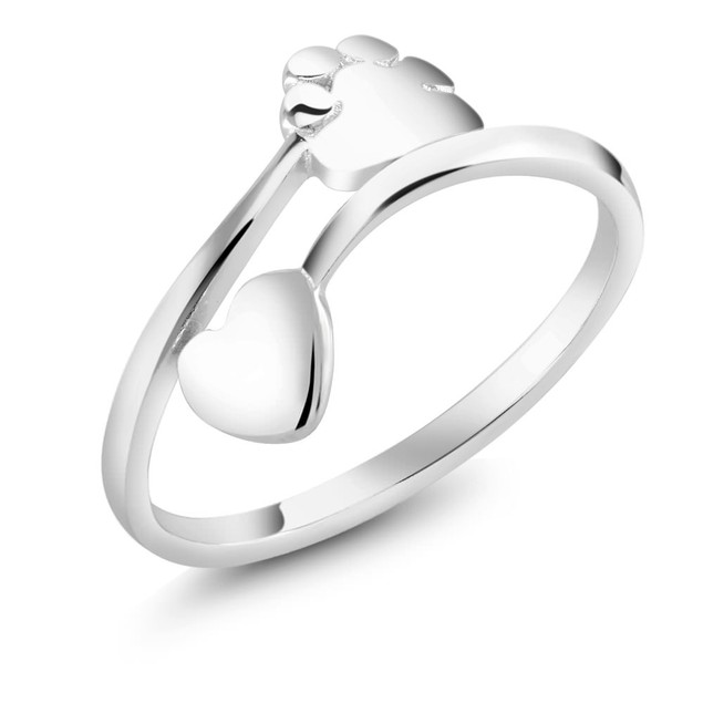 Sterling Silver Heart Paw Adjustable Ring