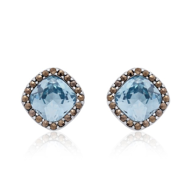 4 Carat Cushion Cut Crystal Aquamarine and Marcasite Stud Earrings