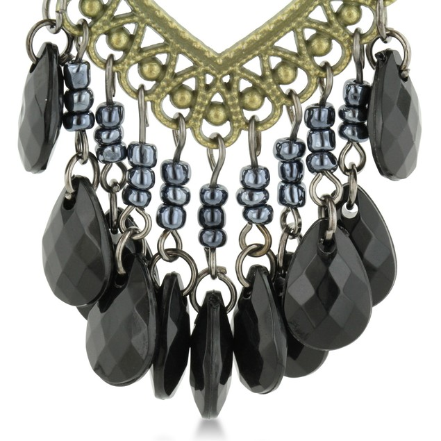 Black Beaded Gold Tone Chandelier Earrings