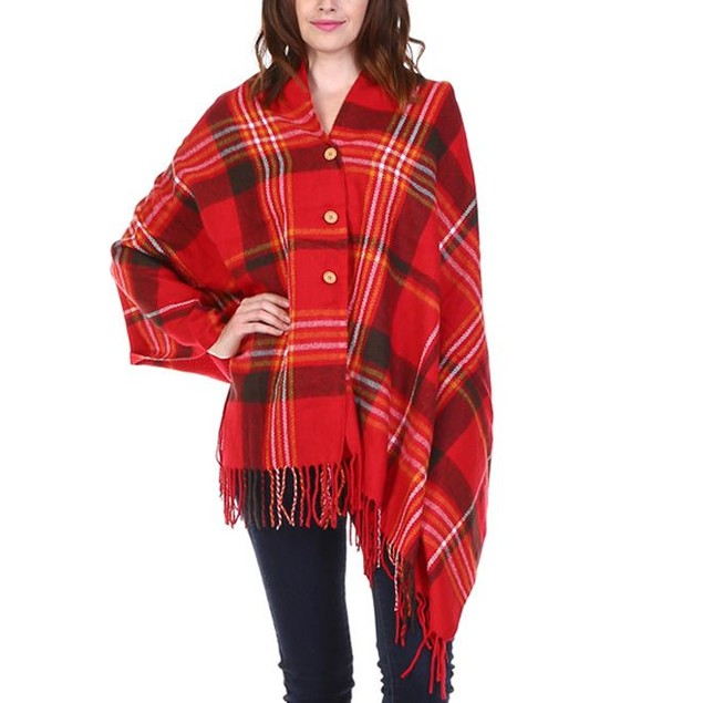Plaid Button-Up Shawl - 3 Colors