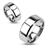Mirror Polished Flat Band with Beveled Edge 316L Stainless Steel Ring
