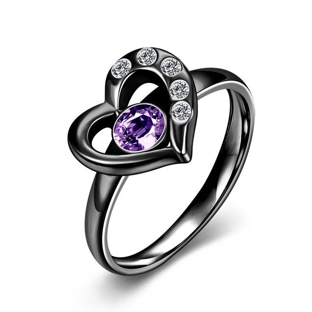 Black Hollow Heart Ring