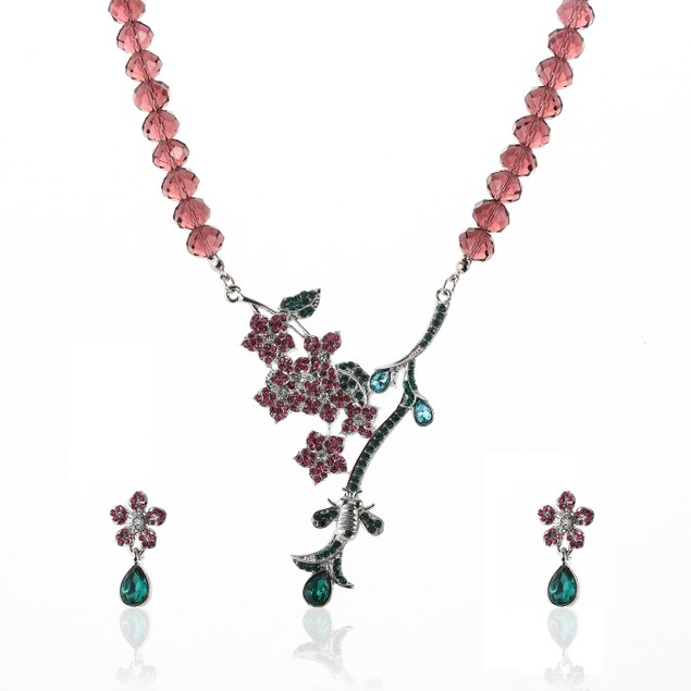 Coral Hue Blooming Vine Crystals Set