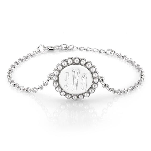 Personalized Round Pearl Charm Bracelet