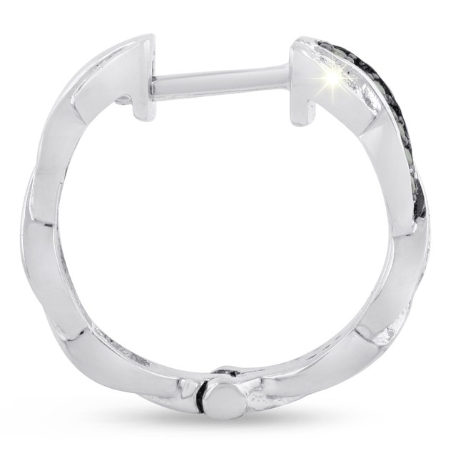 Black and White Diamond Swirl Hoop Earrings