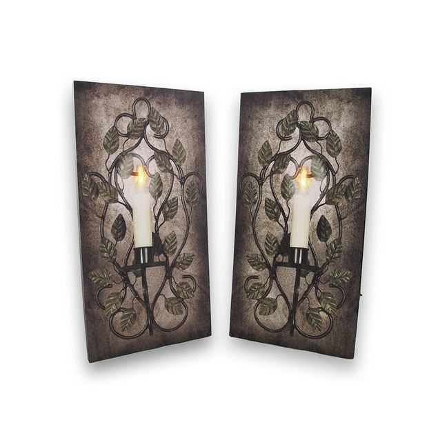 Pair Of Flickering Led Sconce Canvases Prints