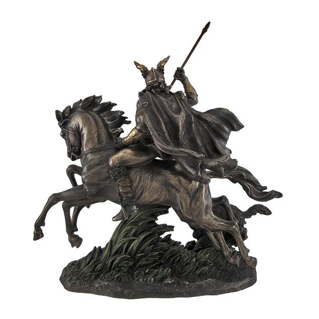Bronzed Norse God Odin Riding Sleipner Statue Statues