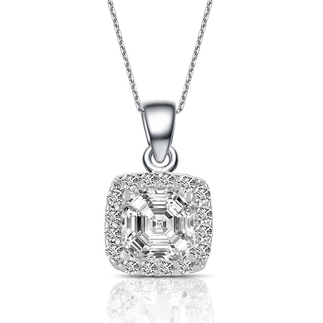 C.Z. Sterling Silver Rhodium Plated Assher Cut Drop Pendant