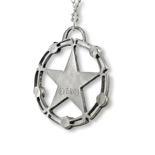 Rhinestone Accented Celtic Pentacle Pendant / Mens Pendant Necklaces