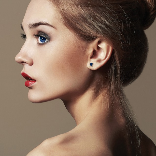 White Gold 1/2ct  Blue Diamond Princess Stud Earrings