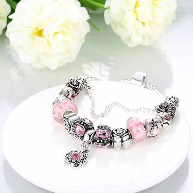 Petite Pink Petite Emblem Designer Inspired Bracelet