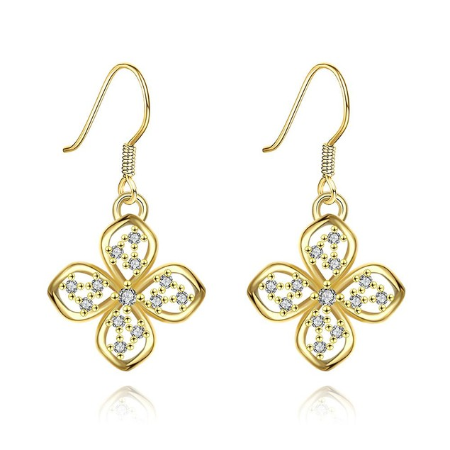 Gold Plated Hollow Clover Drop Down Earrings