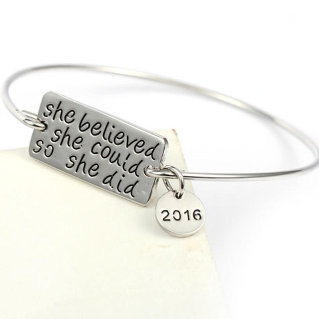 She Believed She Could Charm Bangle Bracelet