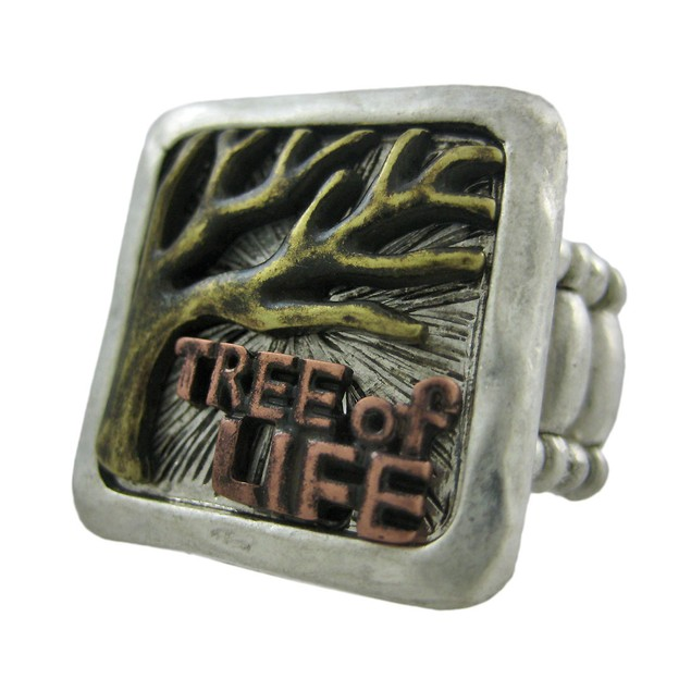 Tri-Tone Pewter Tree Of Life Stretch Ring Womens Rings