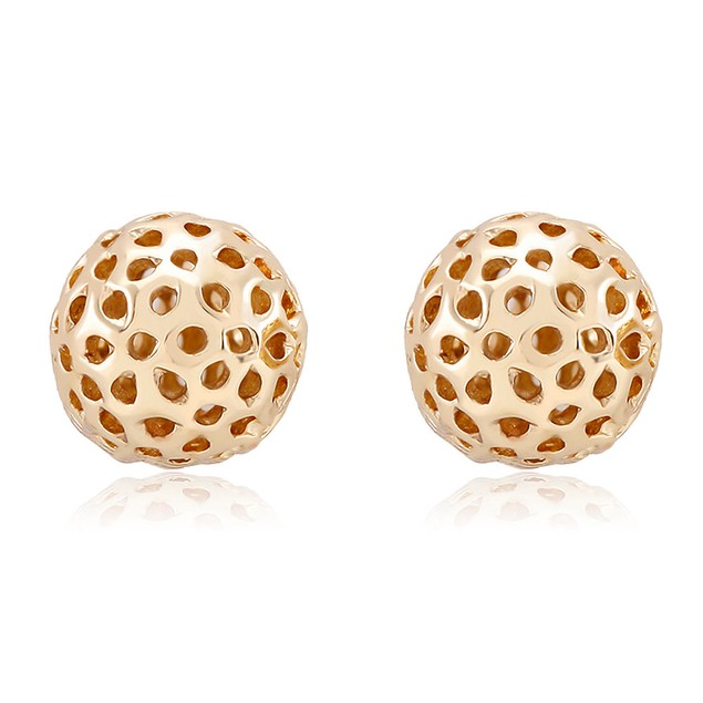 Yellow Gold Plated Cut-Out Ball Stud Earrings