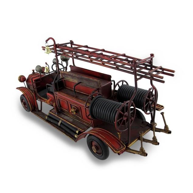 Red Antique Fire Truck Decorative Metal Statue Statues