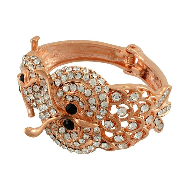 Rose Gold/Copper Double Owl Rhinestone Hinged Womens Bangle Bracelets