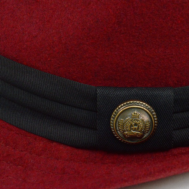 Fedora Hat with Button Accent & Band Trim