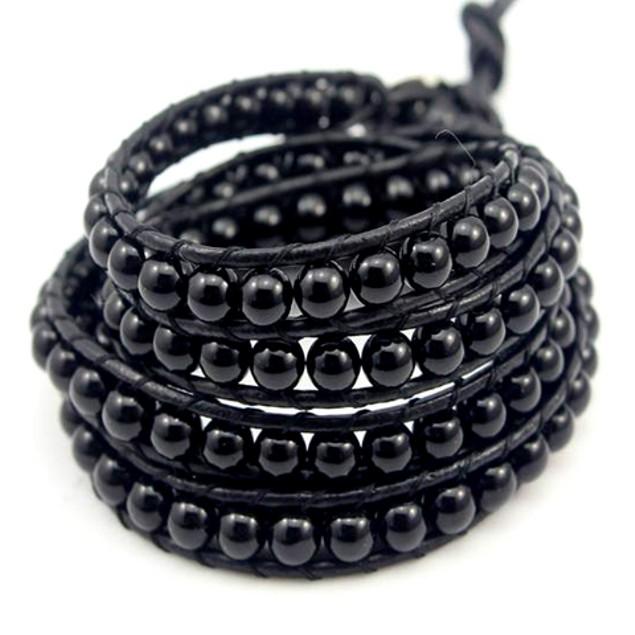 Black on Black Pearl Wrap Bracelet