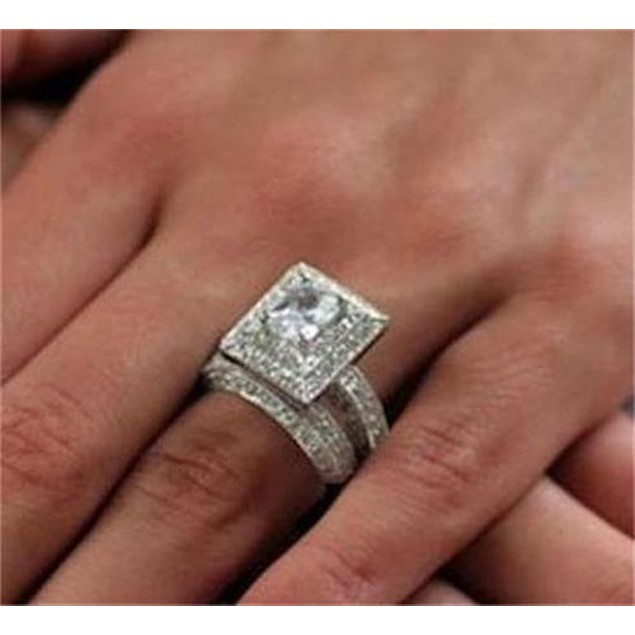 Women's 3.25ct Vintage Style Wedding Ring Set Sterling Silver